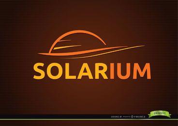 Logotipo de solário de sol de arte de linha
