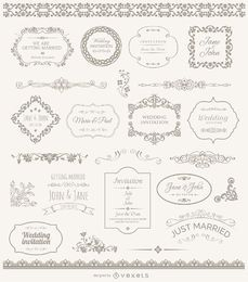 Hochzeitsbilder, Abzeichen und Ornamente
