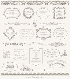 Molduras emblemas e enfeites de casamento