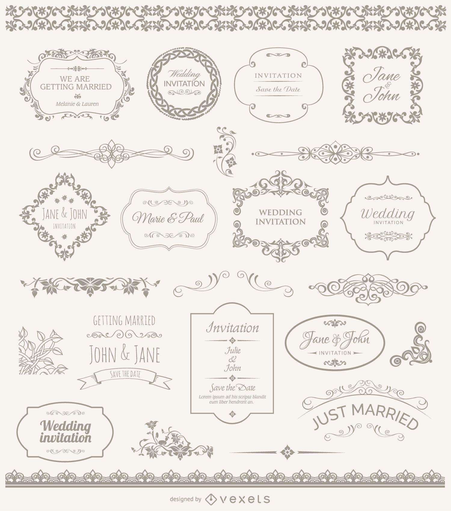 Marcos de boda insignias y adornos