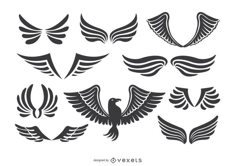 Conjunto de alas y pájaros Fenix