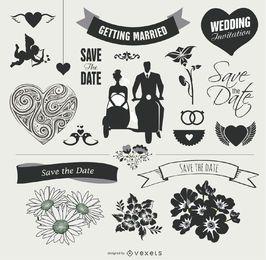 Conjunto de elementos gráficos de casamento