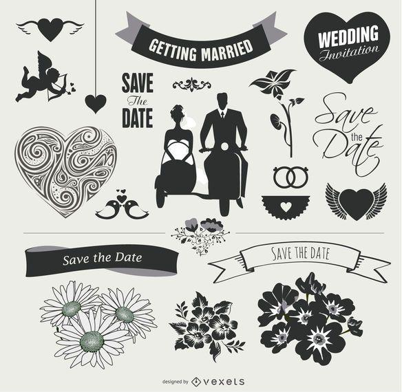 Conjunto gráfico de elementos de boda