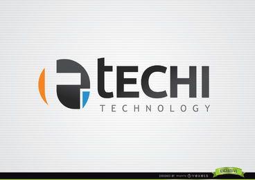 T Logotipo de la tecnología tipográfica de círculo