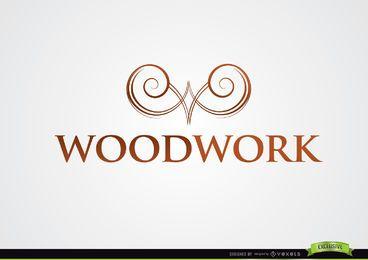 Logotipo simétrico da carpintaria do símbolo dos redemoinhos