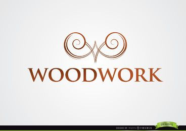 Symmetric Swirls Symbol Woodwork Logo