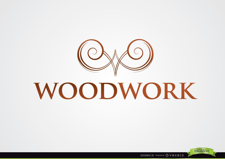 Remolinos simétricos símbolo logotipo de carpintería
