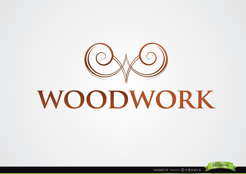 Symmetric Swirls Symbol Woodwork Logo