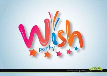 Logotipo de tipografia de desejo em forma de balão