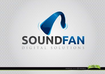 Headphone Curve Sound Fan Logo