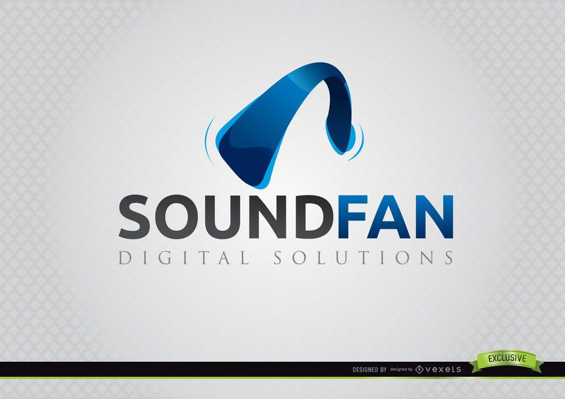 Headphone Curve Sound Fan Logo