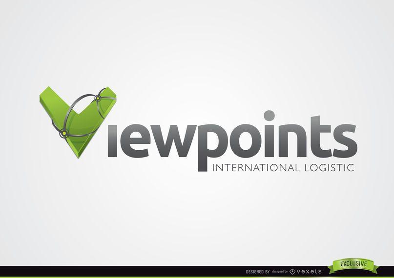 3D V Typography Logo Template