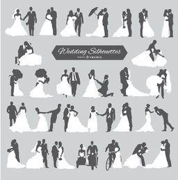 Noivo de casamento e silhuetas de noiva
