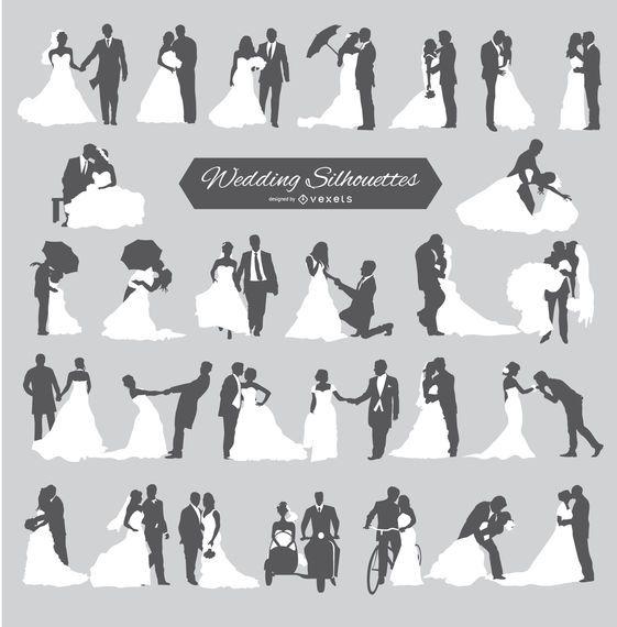 Hochzeit Bräutigam und Braut Silhouetten