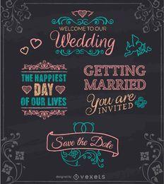 Emblemas tiza boda