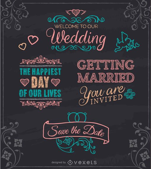 Emblemas de tiza de boda