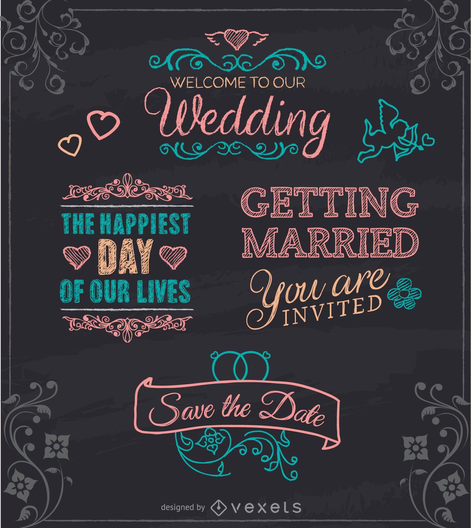 Wedding chalk emblems