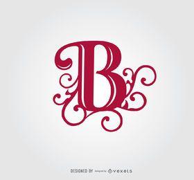 B carta redemoinhos modelo de logotipo