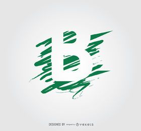 Logotipo de letra B de líneas de garabato