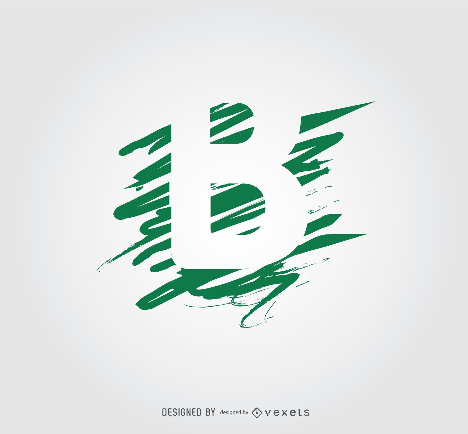 Scribble Lines B Letter Logotype