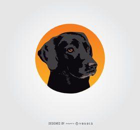 Logotipo do círculo do cão preto