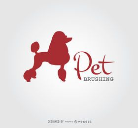 Poodle Silhouette Dog Brushing Logo