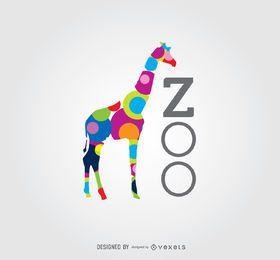 Logotipo de jardim zoológico de girafa de círculos coloridos