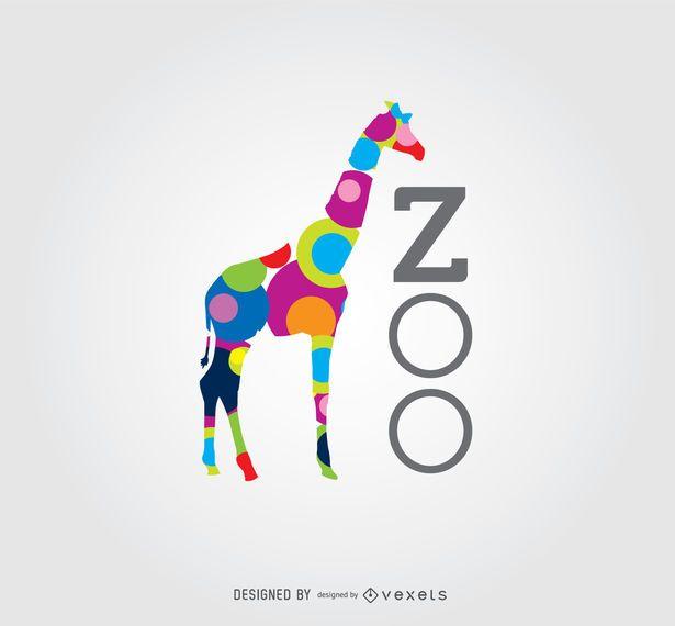 Círculos de colores Giraffe Zoo Logo