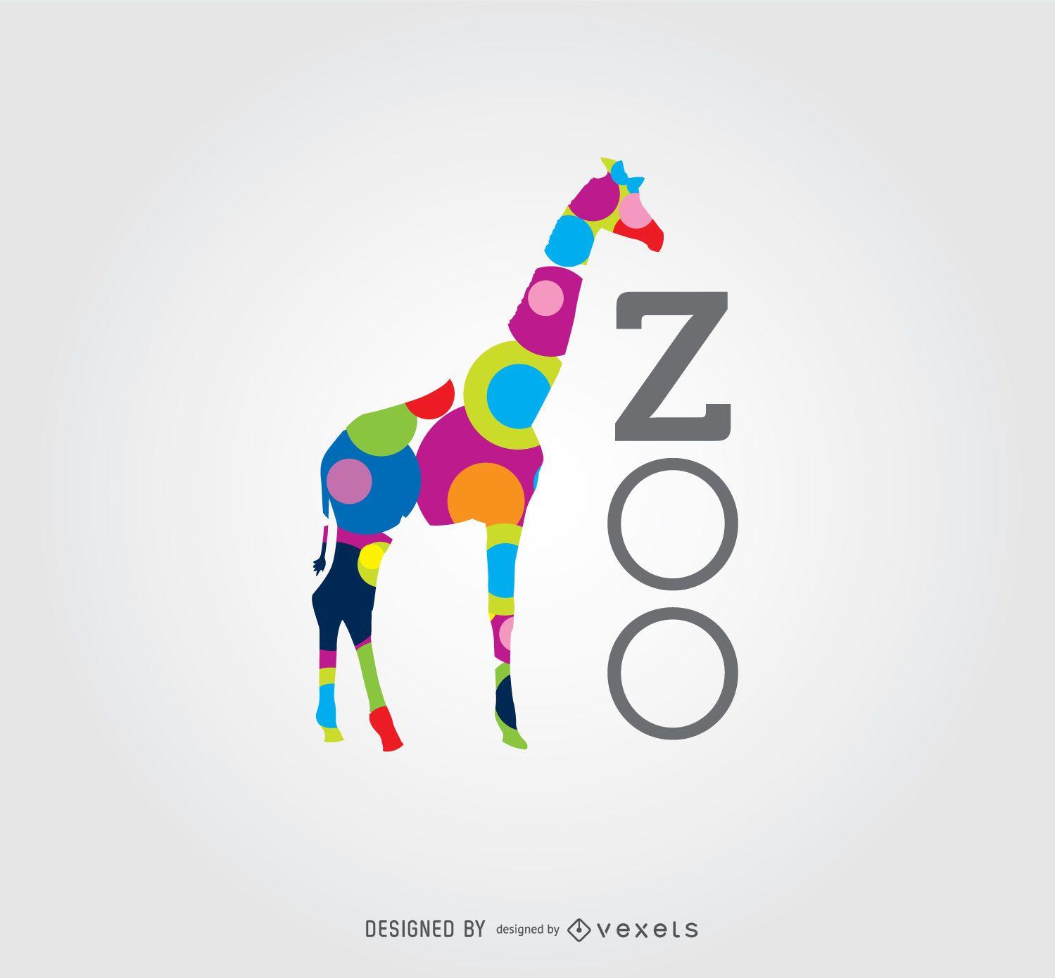 Logotipo do zoológico de girafa com círculos coloridos