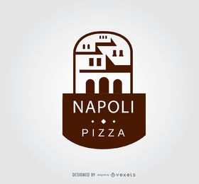 Logotipo de restaurante de pizza de edificio antiguo