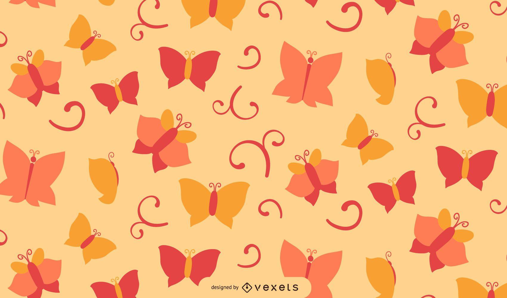 Flouring Swirls Butterfly Background