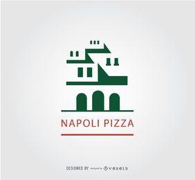Logotipo antiguo de la pizza del edificio de Napoli