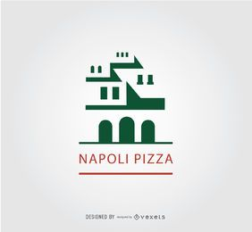 Logotipo de pizza de edificio antiguo Napoli