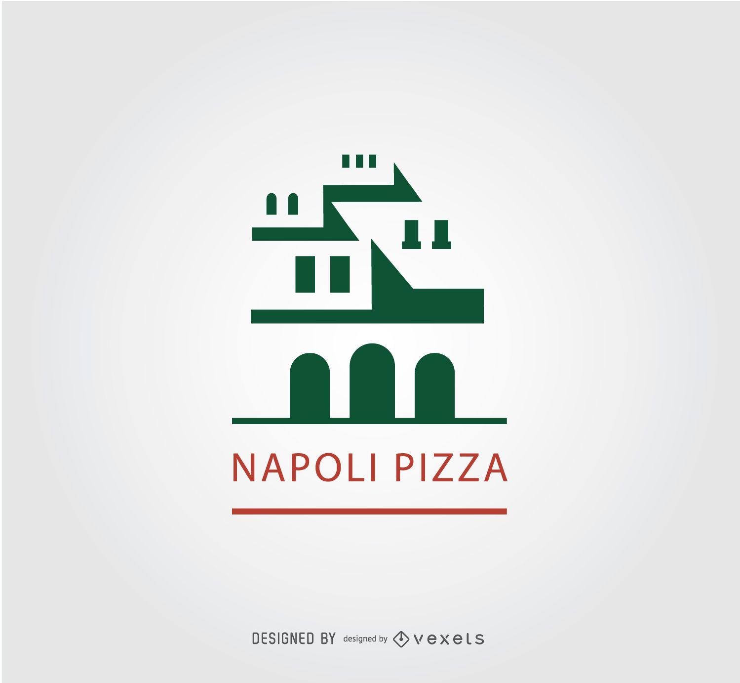 Logotipo de pizza de edificio antiguo Napoli