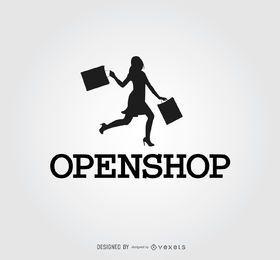 Feliz, mulher, silueta, shopping, logotipo