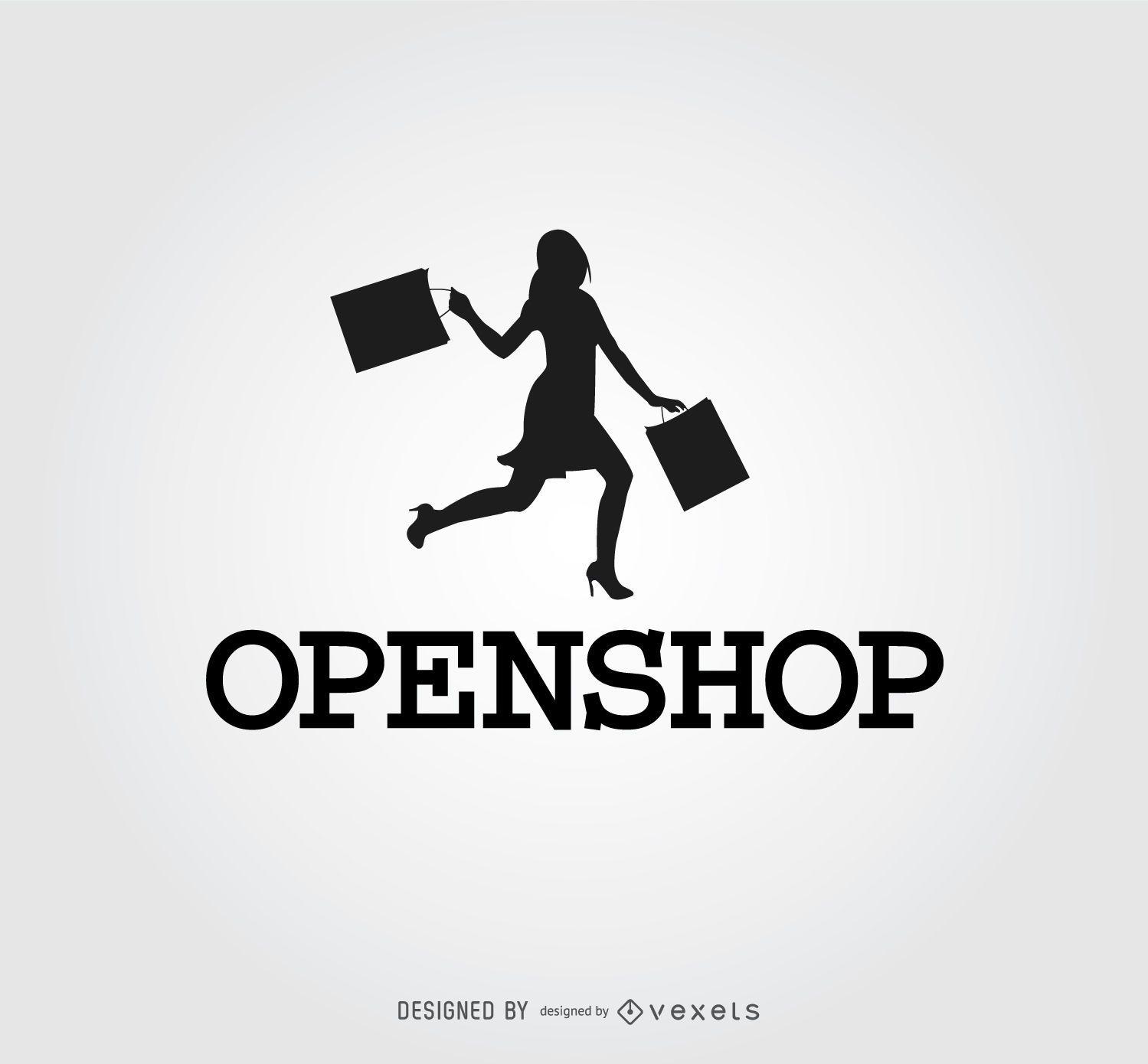 Logotipo de compras de silueta de mujer feliz