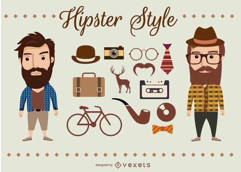 Personagens e elementos Hipster