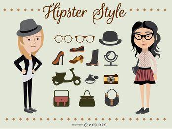 Hipster-Mädchen-Charaktere