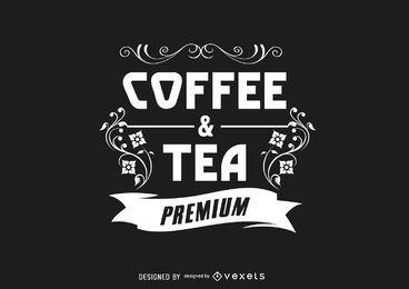 Verziertes Weinlese-Kaffee-Logo