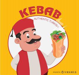 Kebab doner turco de dibujos animados