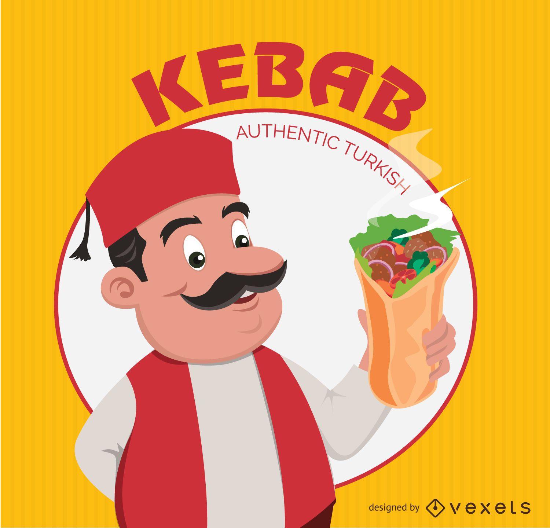 Dibujos animados turco kebab doner
