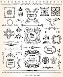 Conjunto ornamental caligráfico