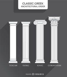 Estilos de columnas griegas: toscano, dórico, jónico y corintio.
