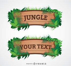 Cartoon Wood Jungle Sign