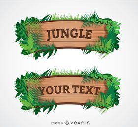 Signo de madera de la selva de dibujos animados