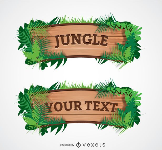 Sinal de selva de madeira dos desenhos animados