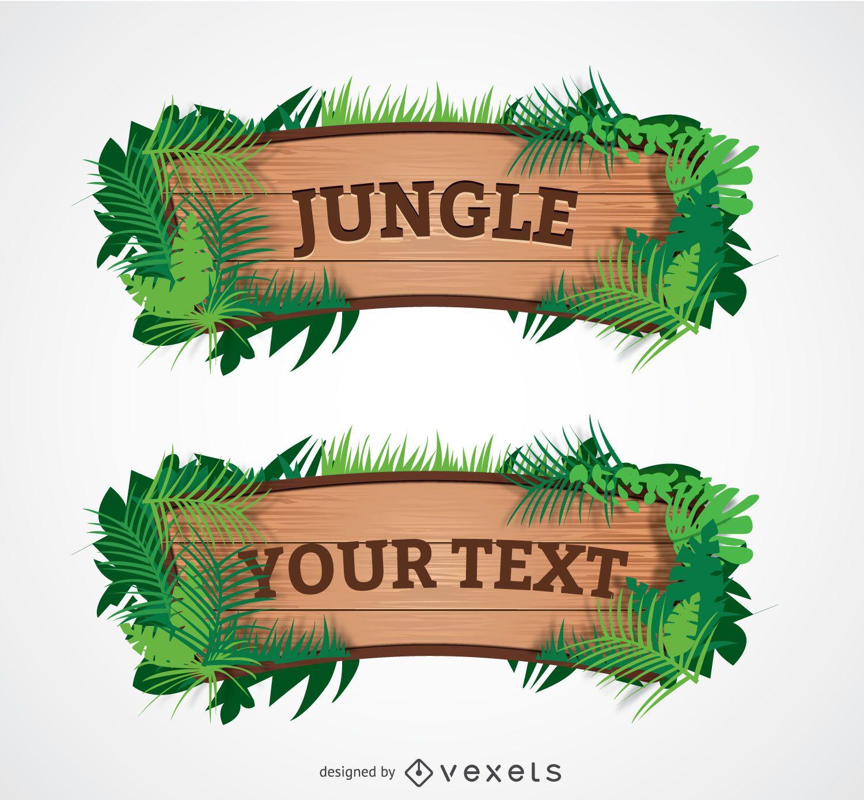 Signo de selva de madera de dibujos animados