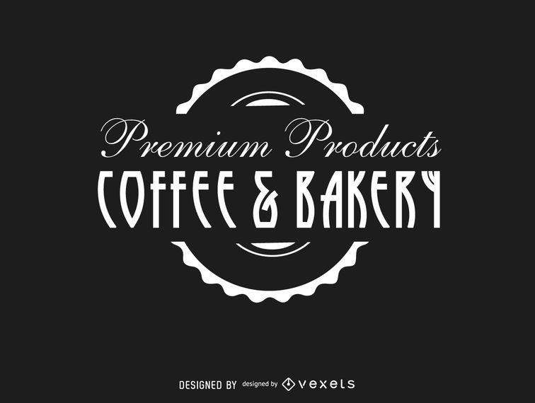Selo do logotipo do vintage da padaria do café