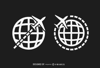 Logos de viaje de avión de globo