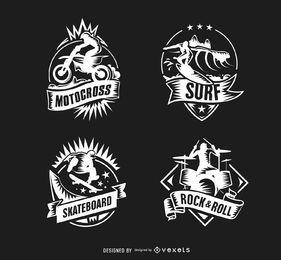Motocross-Brandungs-Skateboard-Schlagzeuger-Logos